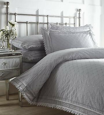 Silver Grey Vintage Lace Broderie Anglaise Embroidered Bedding / Duvet Cover Set • 45.99£