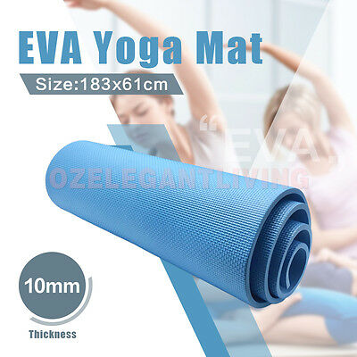 AU37.99 • Buy 10mm Yoga Fitness Exercise Mat NBR Home Gym Non-Slip Thick Physio Blue
