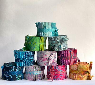Mini Batik Fabric Jelly Rolls, 20 X 2.5 Inch Strips *Multi-Buy Discount* • 16.50£