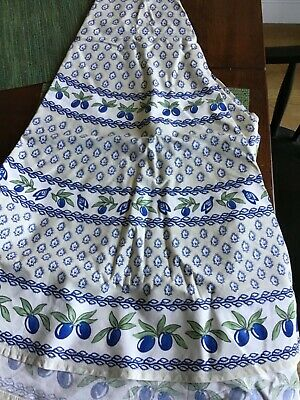 Vintage Blue Green French Provincial Round Tablecloth Cotton Fabric Olives  • 12.99£