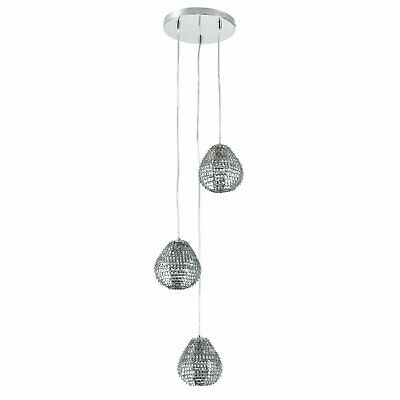 Contemporary 3 Light Cluster Ceiling Pendant Chandelier Metallic Leaf Shades • 29.99£