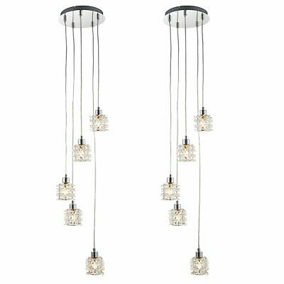 Set Of 2 Modern 5 Light Cluster Ceiling Pendant Fittings Acrylic Crystal Shades • 54.99£