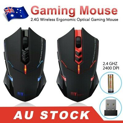 AU23.95 • Buy ET X-8 2.4G Wireless Gaming Mouse LED 7-Button Adjustable 2400DPI For Laptop PC