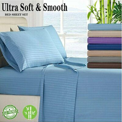 AU25.99 • Buy Soft 4PCS 1800TC BAMBOO Stripe Fitted Sheet Set Single/Double/Queen/King Bed NEW