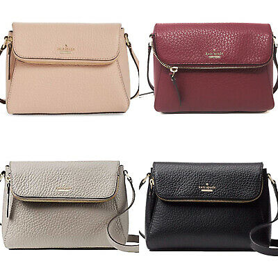 $ CDN132.71 • Buy Kate Spade Carter Street Berrin Pebbled Leather Crossbody Black Soft Taupe