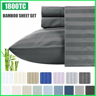 AU39.19 • Buy 4 PCS 1800TC Soft Bamboo Blend Flat Fitted Sheet Set Single/Double/Queen/King
