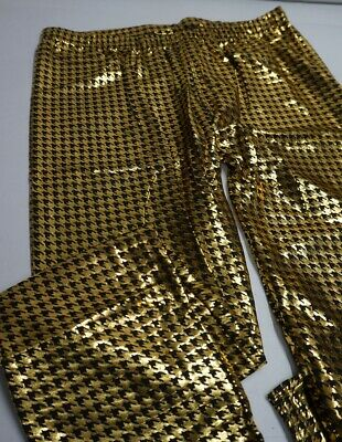 $5.49 • Buy Leggings BLACK And GOLD Hounds Tooth Pattern Full Length Plus Size I3/22