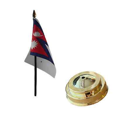 Nepal 6  X 4  Desk Table Flag With Gold Plastic Flat Base • 5£