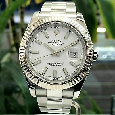 $ CDN12216.53 • Buy Rolex Datejust 41MM Oystersteel And White Gold, White Dial, Fluted Bezel R116334