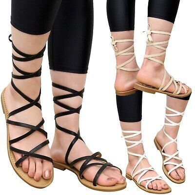 New Ladies Summer Sandals Women  Beach Sliders Lace Up Gladiator Flat Shoes Size • 8.95£
