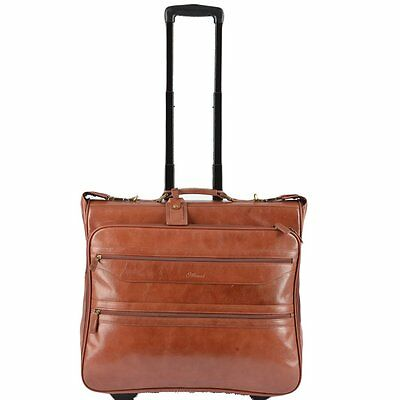 Ashwood Knightsbridge Brown Leather Wheeled Suit Carrier • 275£
