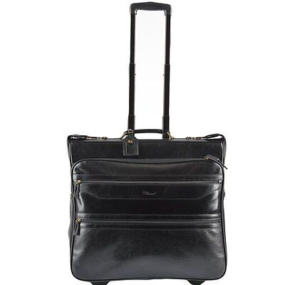 Ashwood Knightsbridge Black Leather Wheeled Suit Carrier • 289£