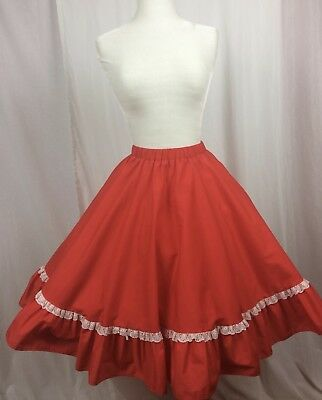 $29.99 • Buy SQUARE DANCE SKIRT Red Malco Modes # 134 SIze L New Elastic Vintage