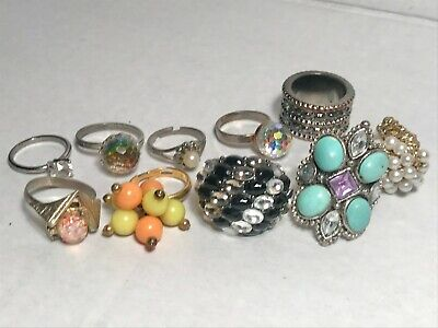$ CDN51.59 • Buy Lot Of 10 Vintage Costume Jewelry Rings Nice Mix Including Engagement Type