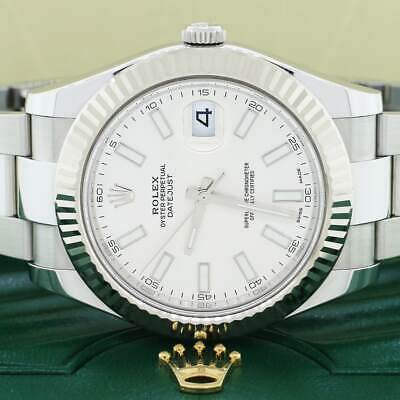 $ CDN12173.39 • Buy Rolex Datejust II White Gold Fluted 41mm Factory Stick Steel 116334 Box&Papers