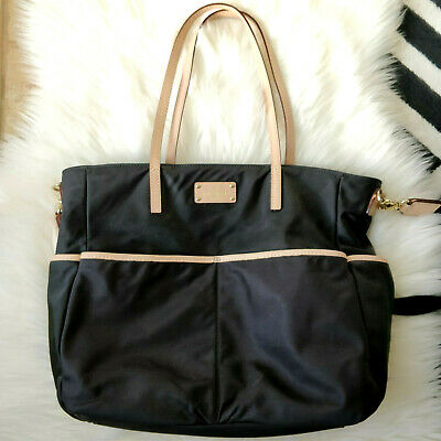$ CDN62 • Buy Kate Spade Black Nylon Tote Diaper Bag Tan Leather Trim Crossbody