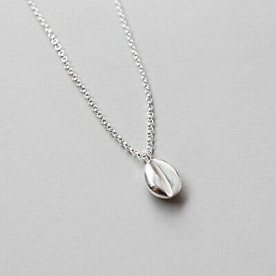 AU26.99 • Buy Solid 925 Sterling Silver Oval Coffee Bean Clavicle Necklace For Women Jewelry