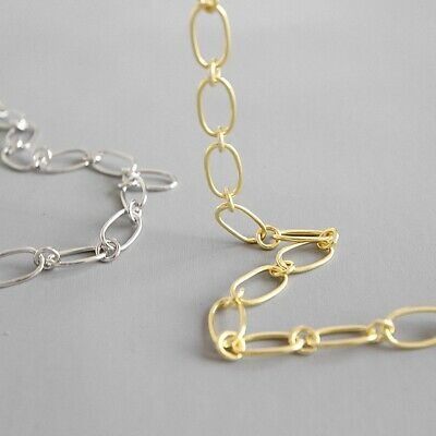 AU38.99 • Buy 18K Gold Simple Personality Necklace For Women Solid 925 Sterling Silver Jewelry