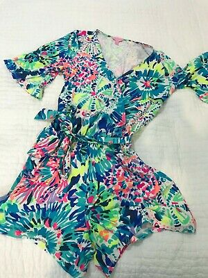 $61 • Buy Lilly Pulitzer Madilyn Romper With Surplice, Sash, Rayon-Spandex 4  Inseam