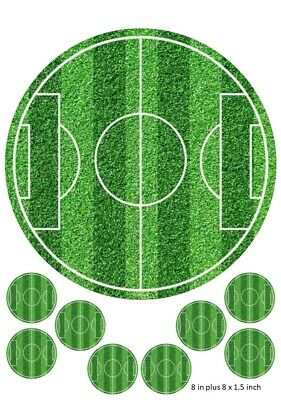 Football Pitch Cake And Cupcake Toppers Round Premier League Birthdays Kids  • 3.99£