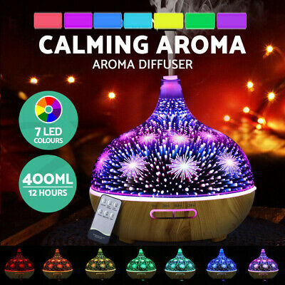 AU48.99 • Buy 400ml 3D Firework Glass Essential Oil Aroma Diffuser LED Ultrasonic Humidifier