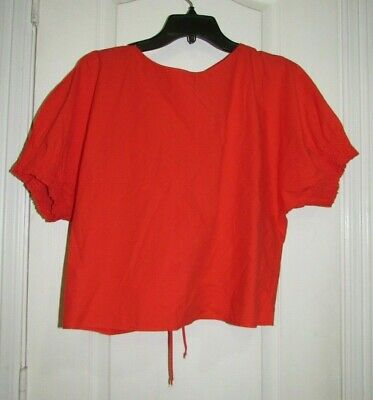$21.99 • Buy Zara Basic Collection Orange Cinched Top Size Large
