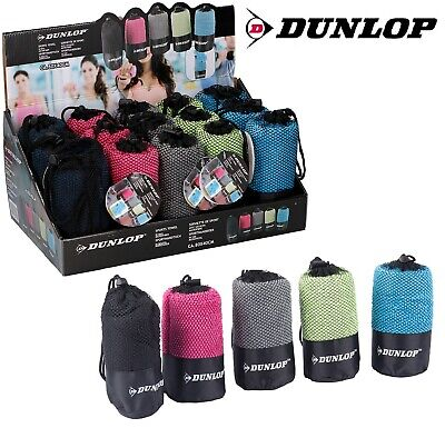 Dunlop Microfibre Towel Sports Gym Yoga Swimming Travel Fast Dry Free Carry Bag • 2.95£