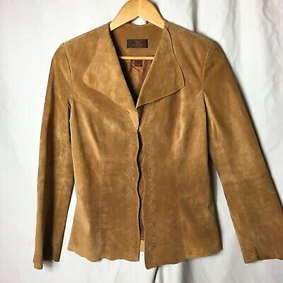$ CDN25 • Buy Danier Leather XS Brown Suede Open Front Jacket Embroidered Extra Small