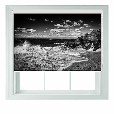 Beach B&W Themed Blackout Roller Blinds For Kitchen Bathroom Various Sizes Rollo • 65£