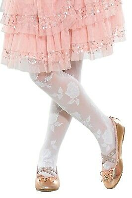 £3.20 • Buy Girls Kids Sheer Party Patterned Tights Rose 5-12 Years Lady Kama