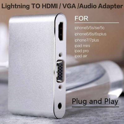 Lightning To HDMI TV / VGA Projector/Audio Adapter For IPhone X 6s 7 8 Plus IPad • 18.99£