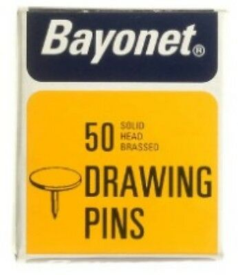 Drawing Pins 50 Solid Head Brassed Drawing Pins Stationery Pins • 1.85£