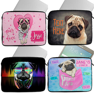 Personalised Girls PUG Tablet Laptop Cover Sleeve Universal Case Neoprene Dog • 16.95£