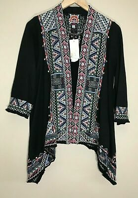 $119.99 • Buy Johnny Was Nemita Embroidered Knit Draped Kimono Cardigan Black Size S Small
