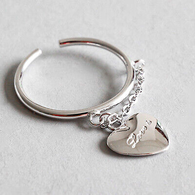 AU21.49 • Buy Personalized Design Heart Shaped Chain Solid 925 Sterling Silver Rings For Women
