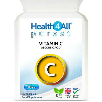 Purest Vitamin C 800mg Capsules | Ascorbic Acid, Zero Additives | Health4All • 7.99£