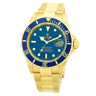 $ CDN27053.47 • Buy ROLEX 18K Yellow Gold 40mm Submariner Date Blue Dial 16618 Box Warranty 2003