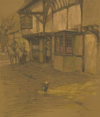 £107.50 • Buy Cecil Aldin (1870-1935) - Late 19th Century Lithograph, The Bell Inn