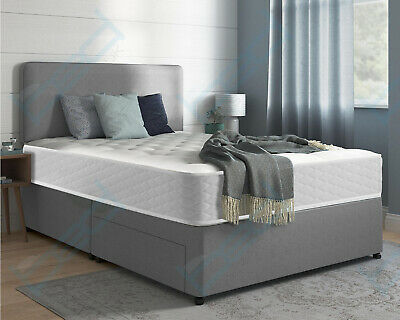 FABRIC DIVAN BED SET WITH MEMORY MATTRESS AND HEADBOARD 3FT 4FT 4FT6 Double 5FT • 199.99£