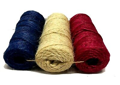 600' Jute Twine String, Red Blue And Ivory, 3-ply, Colored Rope For Craft & DIY • 9.30£