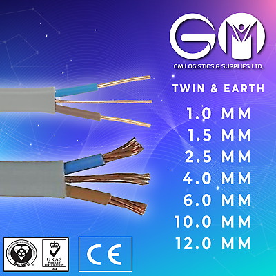 Twin And Earth T&E Electric Cable Wire Lights Electrical Socket Cooker Shower • 9.69£