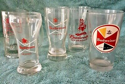 $ CDN31.79 • Buy Vintage ~ Lot Of 5 BUDWEISER ~ Collectible Bar Glasses 6  To 6.5  Beer Steins