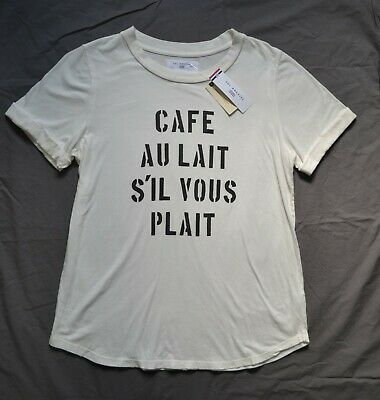 $ CDN49 • Buy NWT SOL ANGELES X ANTHROPOLOGIE ~ French Cafe White Graphic T Shirt Top ~ Sz. L
