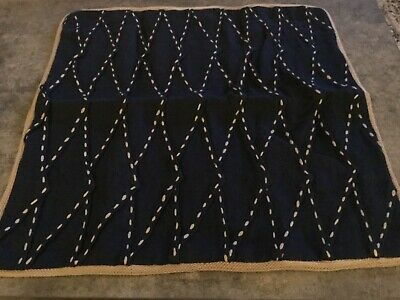 "$36.99 • Buy NEW Pottery Barn Pillow Cover Pinch Pleat Linen Sailor Blue Navy 20"" Nautical"