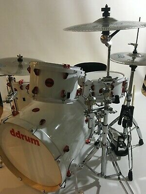 Ddrum Hybrid 5 Piece Drum Kit In White With Accessories Acoustic & Electric • 400£