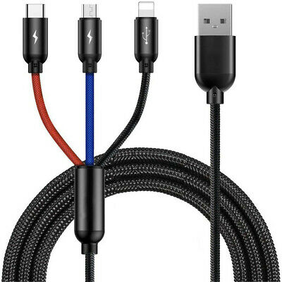 AU9.55 • Buy 3 In 1 Micro USB Lightning Type C Fast Charging Cable Cord For IOS Android 3.5A