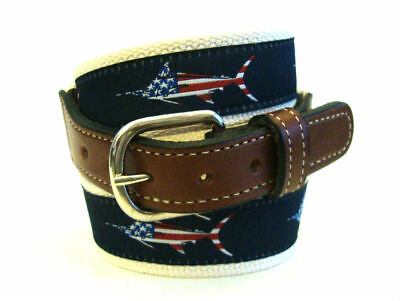 $22.99 • Buy Mens MARLIN USA Embroidered Leather Canvas Ribbon Fishing Belt  NWT Select Size
