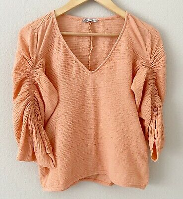 $16.99 • Buy Zara Women's Size Small Coral Textured Ruched 3/4 Sleeve V-neck Blouse Tie