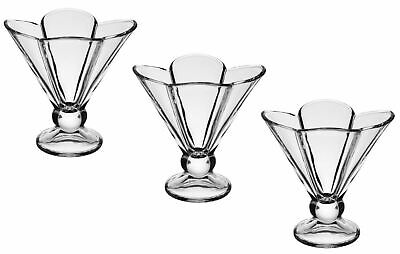 £5.99 • Buy 3 Piece Floral Dessert Bowls Set Clear Glass Pudding Fruit Ice Cream Cups 160ml