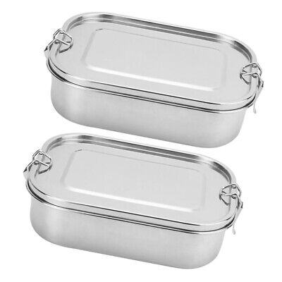 Set Of 2 Stainless Steel Bento Lunch Box Camp Picnic Food Storage Container Case • 34.50£